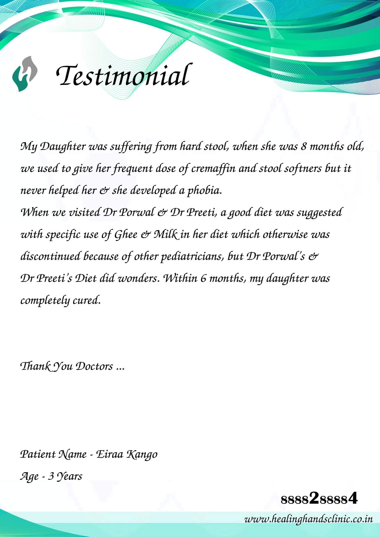 Testimonial after treatment of constipation by diet and excercise