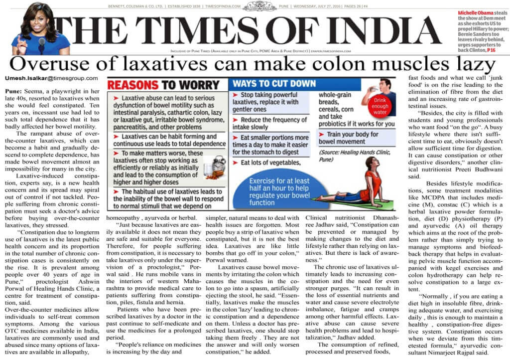 Over use of laxatives can make colon muscles lazy
